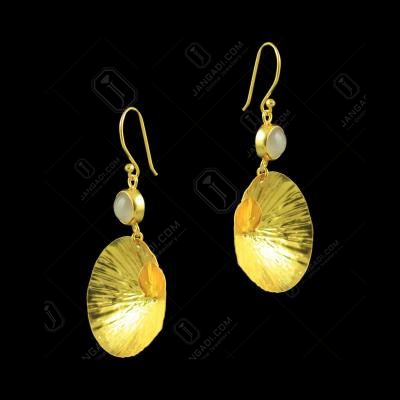 GOLD PLATED HANGING EARRINGS WITH CHALCEDONY STONES
