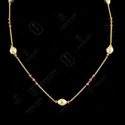 GOLD PLATED CZ STONES AND RUBY BEADS NECKLACE