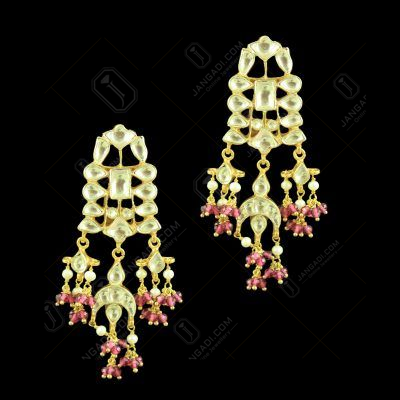 GOLD PLATED KUNDAN STONE EARRINGS WITH RUBY BEADS