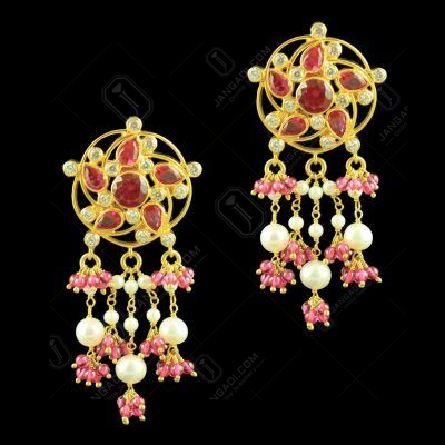 Gold Plated Floral Design Earrings Studded Semi Precious Stones
