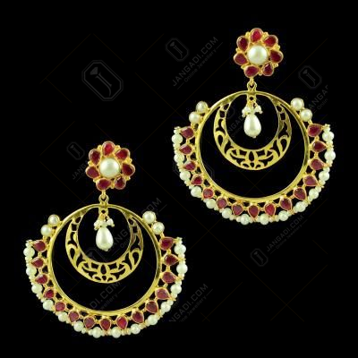 Silver Gold Plated Blue Onyx With Pearl  Round Design Earring