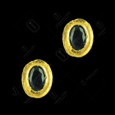 Gold Plated Sapphire Stone Casual Earrings With Zircon Stones