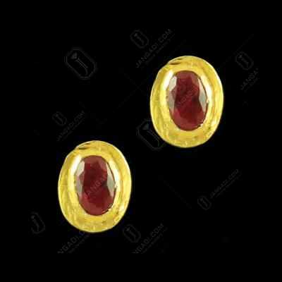 Gold Plated Round Shape Earrings Studded Green And Red Onyx Stones