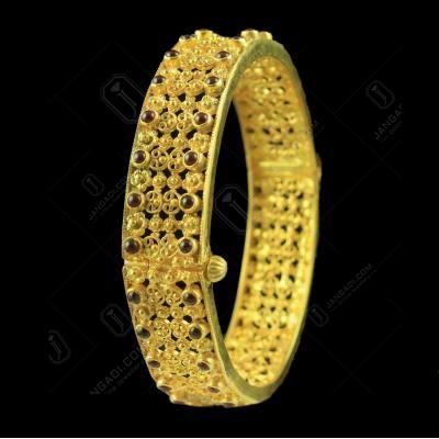 Gold Plated Flex Bangle Studded Semi precious Stones