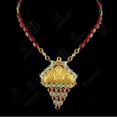 Gold Plated Nakashi Design Pendant with Polki stones And Semi Precious Stones