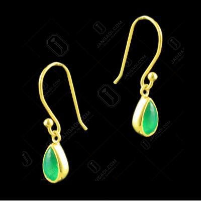 Pear shape Semi Precious Stone Bezel earrings With Gold plated