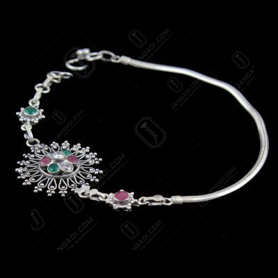 OXIDIZED SILVER RUBY EMERALD AND CZ ANKLET