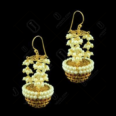 Gold Plated Floral Design Long jhumka Studded Semi Precious Stones
