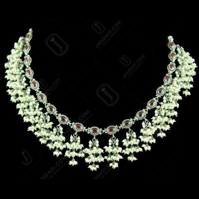Corundum Stone Oxidized Silver Thread Necklace