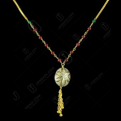 GOLD PLATED CZ NECKLACE WITH RUBY AND EMERALD