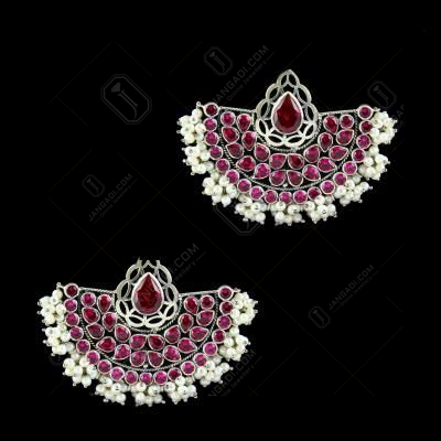 OXIDIZED SILVER RED CORUNDUM AND PEARL EARRINGS