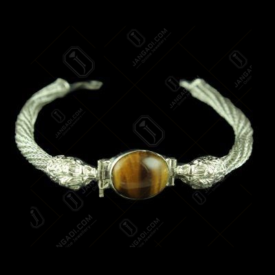OXIDIZED SILVER LION FACE BRACELET WITH TIGERS EYE