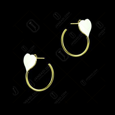GOLD PLATED TWO TONE HEART DROPS EARRINGS