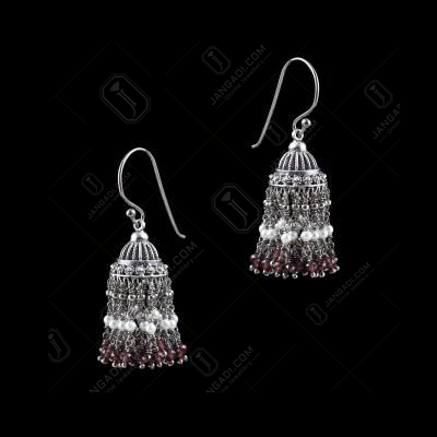 OXIDIZED SILVER JHUMKA WITH RUBY