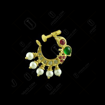 GOLD PLATED MULTI COLOR STONE NOSE RING