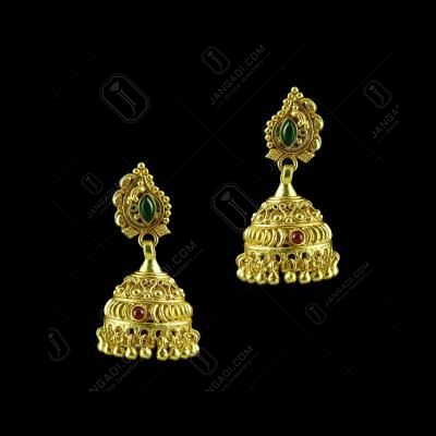GOLD PLATED FLORAL JHUMKA EARRINGS