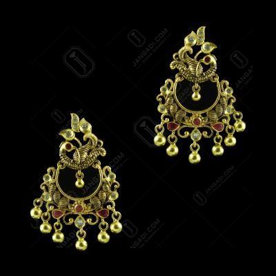GOLD PLATED CPEACOCK CHANDBALI EARRINGS