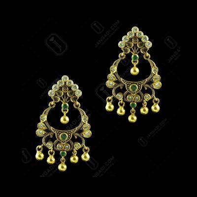 GOLD PLATED CZ FLORAL CHANDBALI EARRINGS