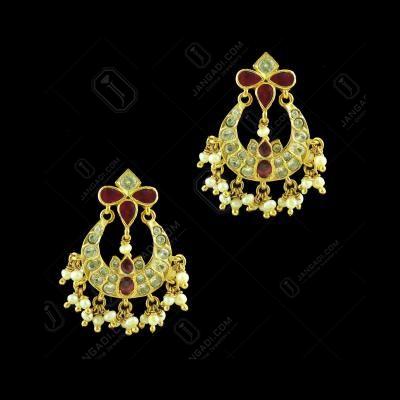 GOLD PLATED MULTI COLOR STONE CHANDBALI EARRINGS