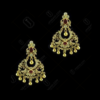 GOLD PLATED CZ AND RUBY CHANDBALI EARRINGS