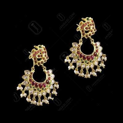 GOLD PLATED CHANDBALI WITH GREEN HYDRO RED CORUNDUM AND PERALS