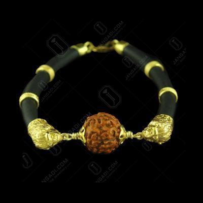 GOLD PLATED LION BRACELET WITH RUDRAKSH