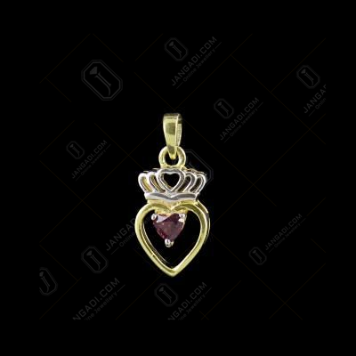 TWO TONE RED SWAROVSKI HEART PENDENT