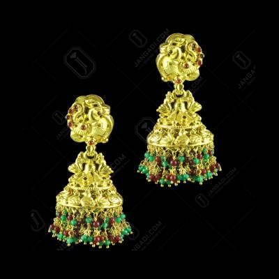 GOLD PLATED JHUMKAS JEAD AND GARNET EARRINGS