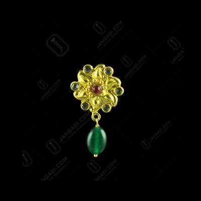 GOLD PLATED CRYSTAL AND GREEN ONYX FLORAL EARRINGS