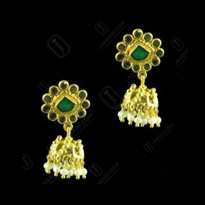 GOLD PLATED JHUMKAS WITH CRYSTAL AND PEARL EARRINGS