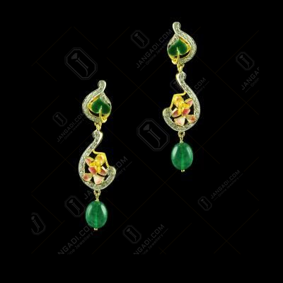 Gold Plated Meena And Fancy Ear Drops Studded Semi Precious Stones