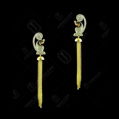 Gold Plated Enamel Peacock Earrings Studded Zircon Stones