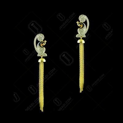 Gold Plated Enamel Peacock Earrings Studded Zircon Stones