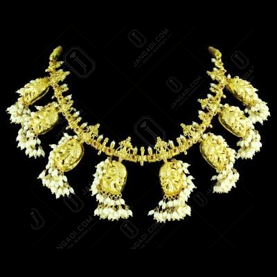 GOLD PLATED PEACOCK NAKSHI WITH PEARL NECKLACES