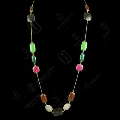 GOLD PLATED MULTI COLOR ONYX NECKLACES