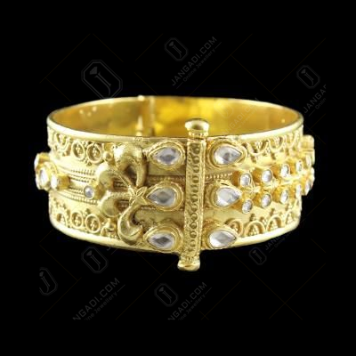 GOLD PLATED KUNDAN STONE SCREW BANGLE