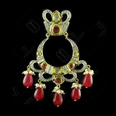 GOLD PLATED CZ PEARL AND RUBY CHANDBALI EARRINGS