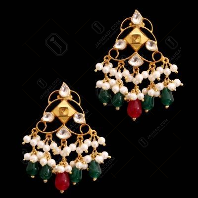 GOLD PLATED RUBY WITH KUNDAN STONE RED AND GREEN HYDRO WITH PEARL DROPS EARRINGS