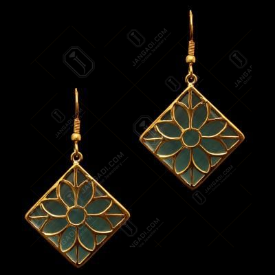 GOLD PLATED MONALISA STONE HANGING EARRINGS