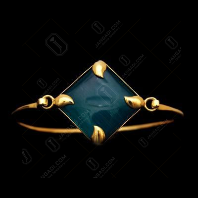 GOLD PLATED MONALISA STONE LOCK BANGLE