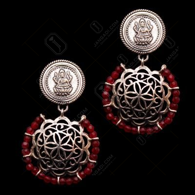 OXIDIZED LAKSHMI WITH WITH PEARL DROPS EARRINGS