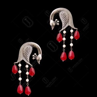 OXIDIZED SILVER PEACOCK EARRINGS WITH RED ONYX AND PEARL BEADS
