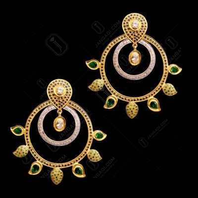 GOLD PLATED GREEN BLUE WHITE CZ STONE DROPS EARRINGS