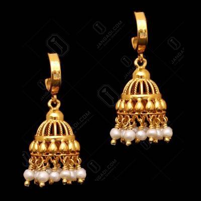 GOLD PLATED PEARL KOPPU EARRINGS