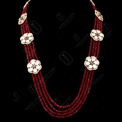 KUNDAN STONE NECKLACE WITH GREEN RED CORUNDUM AND PEARL BEADS