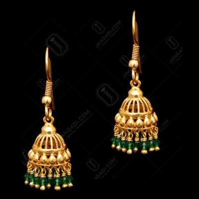 GOLD PLATED GREEN HYDRO JHUMKA EARRINGS