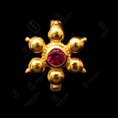 GOLD PLATED CZ FLORAL NOSE PIN