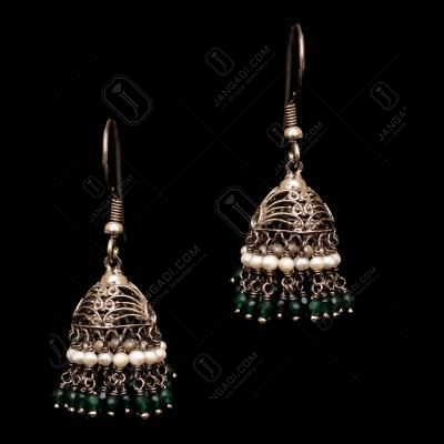 OXIDIZED SILVER GREEN HYDRO AND PEARL HANGING JHUMKAS
