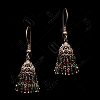 OXIDIZED SILVER GARNET AND GREEN HYDRO BEAD HANGING JHUMKAS