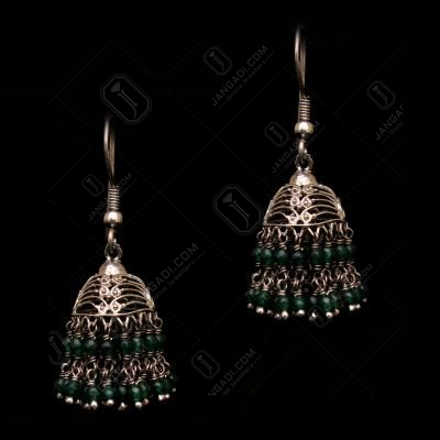 OXIDIZED SILVER GREEN HYDRO HANGING EARRINGS